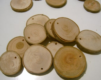 60 Assorted  Blank Tree Branch Slices 1.5 to 2 inch Drilled DIY Ornament Tag Wood Round