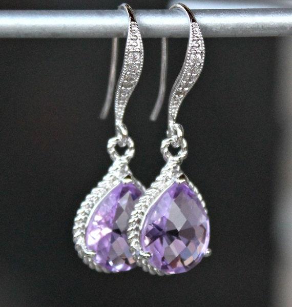 Lavender Crystal Teardrop Earrings in Silver