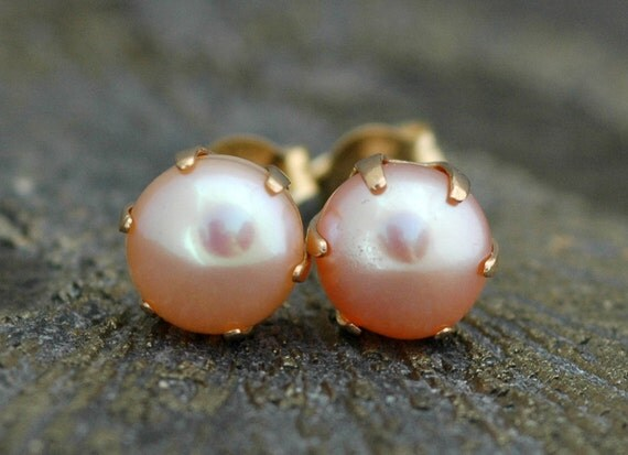 Peach  Pearl and 14k Yellow Gold Earrings