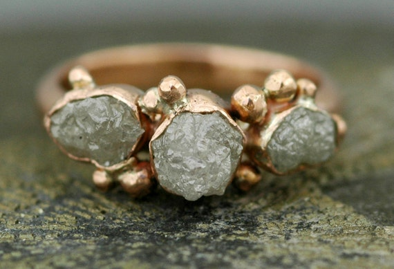 Three Rough Diamonds on White Gold Engagement Ring- Reserved