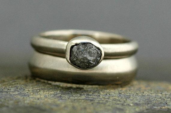 Silver Grey Rough Diamond Engagement Ring and Wedding Band Set 14k White Gold