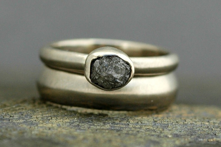 Silver Grey Rough Diamond Engagement Ring And By Specimental