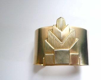 Big gold cuff Art deco cuff Big bracelet Big cuff Large cuff Large bracelet cuff Chrysler Building Gatsby era Art deco bracelet Great Gatsby