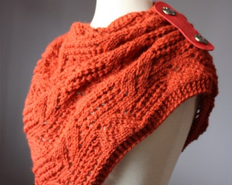Knitting pattern Hand knit lacy leafy scarf / neck warmer / capelet / cowl / PDF pattern / women scarves