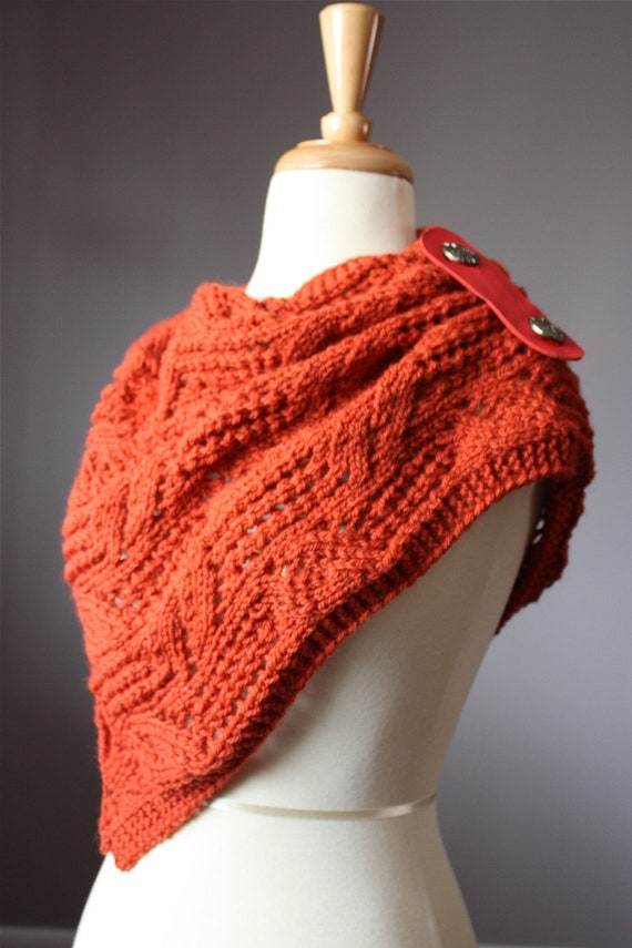 Knitting Patterns For Collar Scarf : Knitting pattern Hand knit lacy leafy scarf / neck warmer