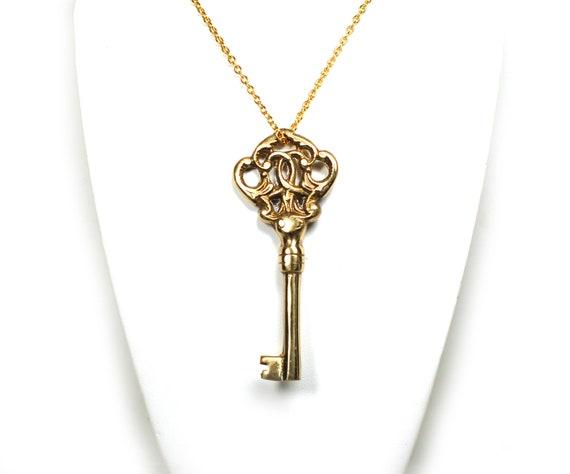 Gold Key Necklace - Ornate Fancy Vintage Skeleton Key Pendant