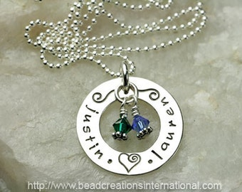 Personalized Hand Stamped Necklace with 2 Names and Two Crystals
