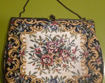 Mid Century Tapestry Framed Purse