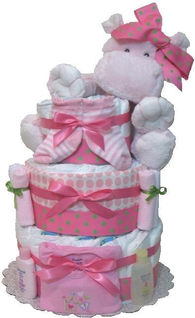 Girl Diaper Cake Girl Jungle Diaper Cake Girl Hippo Diaper