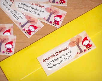 Personalized Return address labels -Anly Red Ridding Hood- Set of 32 (rectangular)