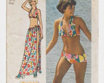 """Vintage Simplicity Pattern 5644 - Bikini and Wrap and Tie Skirt Pattern - Super Jiffy Pattern 5644 - Size 12/14, Bust 34"""" - 36"""" - Dated 1973"""
