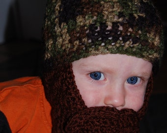 Camo Baby Beard Beanie Shown In 18-24 Months But You Choose Size And Colors