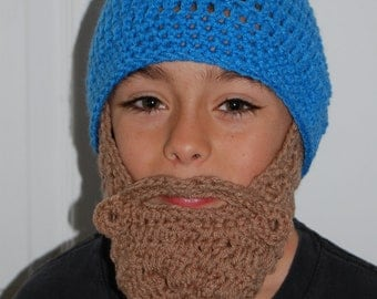 Made Upon Ordering Child Sized (8 to 11) Beard Beanie Blue You Choose Colors
