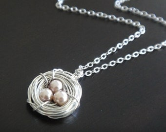 Champagne Pearl Bird's Nest Necklace