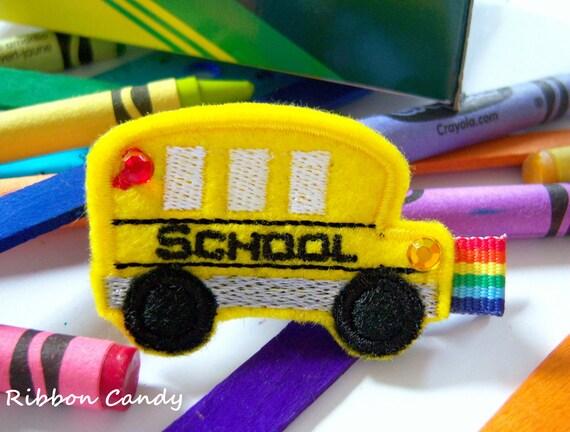 Back to School Hair Clip - School Bus Hair Clip in Felt - Sparkle - non slip