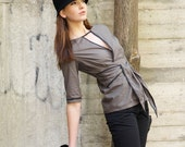Sophisticated spring fashion grey blouse with v neck and long waist tie trimmed in black - Calabria Top - ready to ship