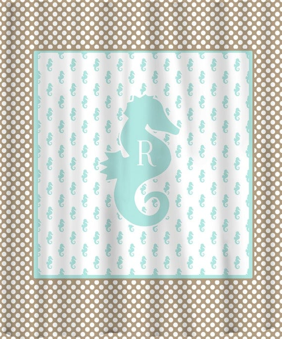 items similar to monogrammed seahorse polka dot shower curtain personalized any color on etsy. Black Bedroom Furniture Sets. Home Design Ideas