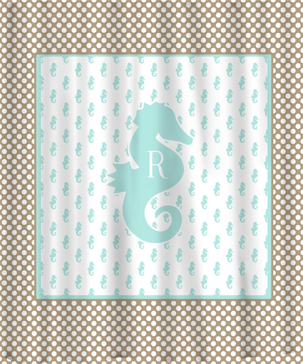 Monogrammed Seahorse Polka Dot Shower Curtain By Redbeauty