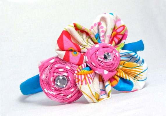 Fabric Headband Daisy Rosette Pink Turquoise Rhinestone Accent
