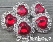 Valentine Rhinestone Buttons- NEW Set of FiVE Red Heart and Clear Buttons 25mm