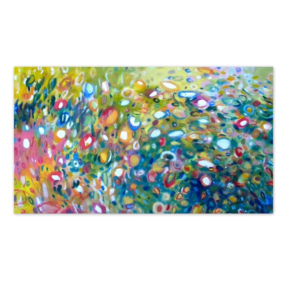 Extra large original abstract painting colorful circles 26x46 -  FREE SHIPPING