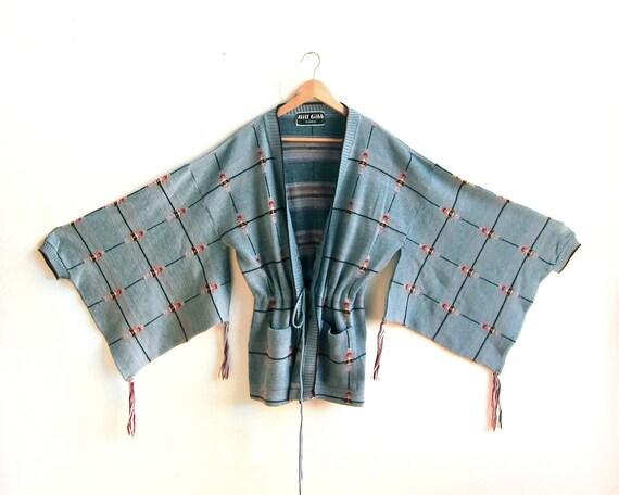 Vintage Avant Garde London Couture Oversized Kimono Bell Sleeve Wool Wrap Cardigan in Dusty Blue - M / L