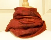 Felted Wool and Silk Scarf - Hand Dyed Winter Scarf in Shades of Rust