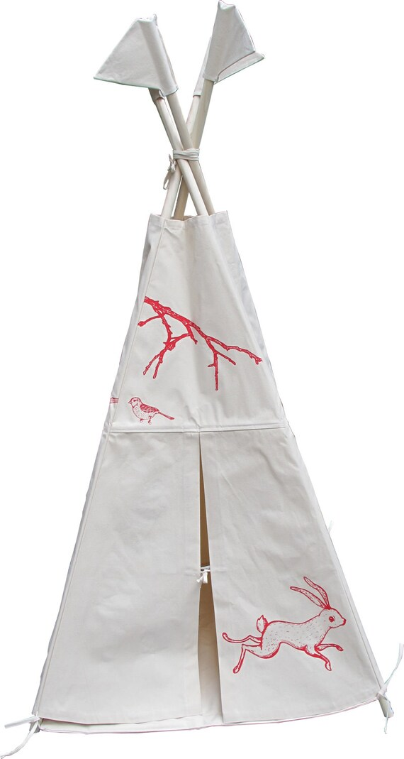 print red indoor canvas teepee poles not include