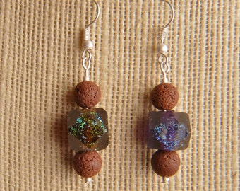 Handmade Dichroic Glass Earrings Antique Silver