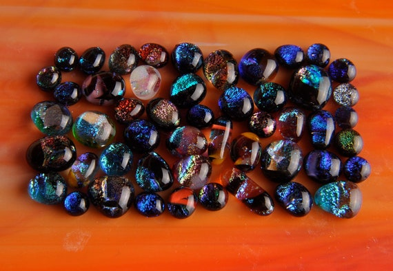50 LOT Handmade Dichroic Fused Glass Cabs Cabochons Beads