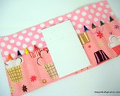 Crayon Wallet - Confections Cupcake in Blush - art wallet.party favor.party favor - Crayons and Pad NOT INCLUDED