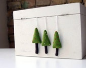 Holiday ornaments. A set of 3  green Christmas trees - adatine