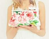 Wedding Purse Peony Floral Print Peach Green Leaves Lilac Pink Sage Bridesmaid Gift Made to order