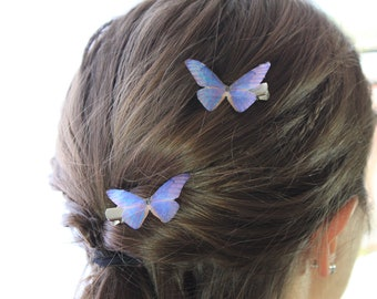 1 Pair Watercolor Pink Purple Blue Silk Butterfly Hairclips
