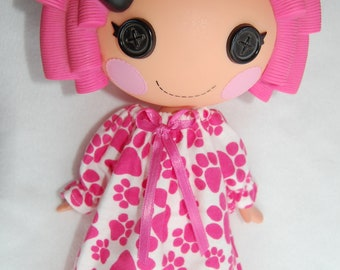 Doll Clothes for Lalaloopsy - Pink Paw Prints flannel Nightgown - tkct124
