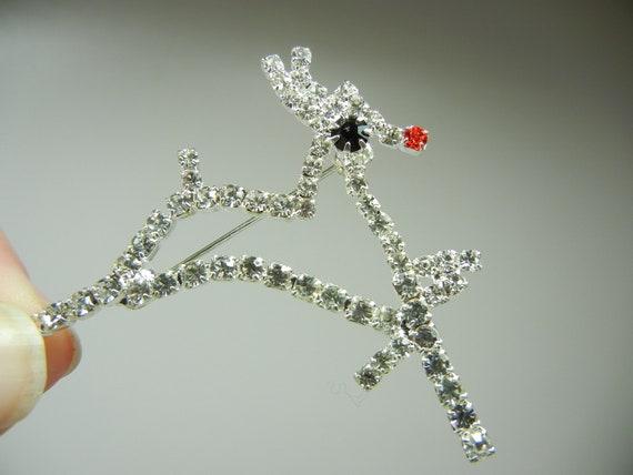 Rudolph the red nosed Reindeer Brooch, Christmas pin, Rhinstone brooch, antlers, Xmas