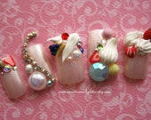 SALE_Fake Nails- I Want Candy- Kawaii 3D Japanese Nail Art Deluxe Press On Nails for Cosplay, Hime, Gyaru Style