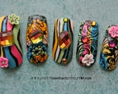 3D Japanese Nail Art- Psychedelic Floral- Artificial Nails