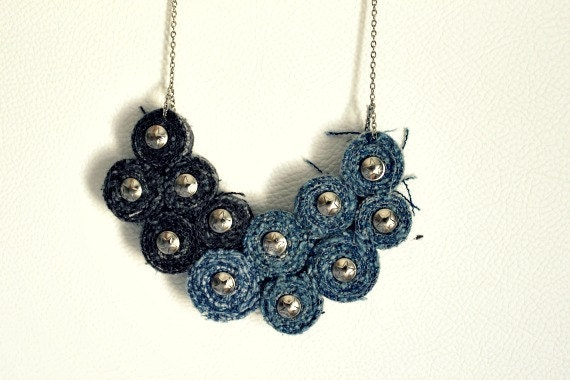Recycled Levis Jean Bib Necklace No22