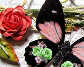 Butterfly Embellishments Lime Rose
