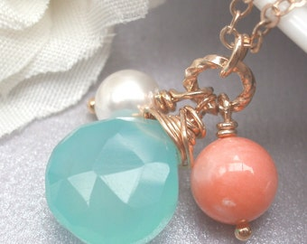 Aqua Blue Chalcedony With Coral And Swarovski Pearl Necklace - Gold Filled