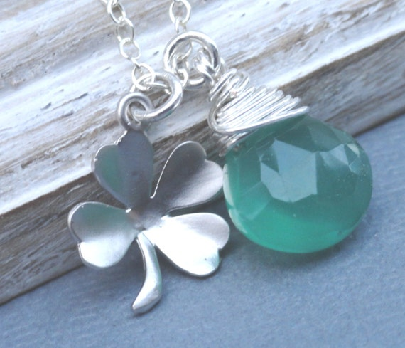 Shamrock Necklace Moss Green Chalcedony Wire Wrapped Briolette Four Leaf Clover