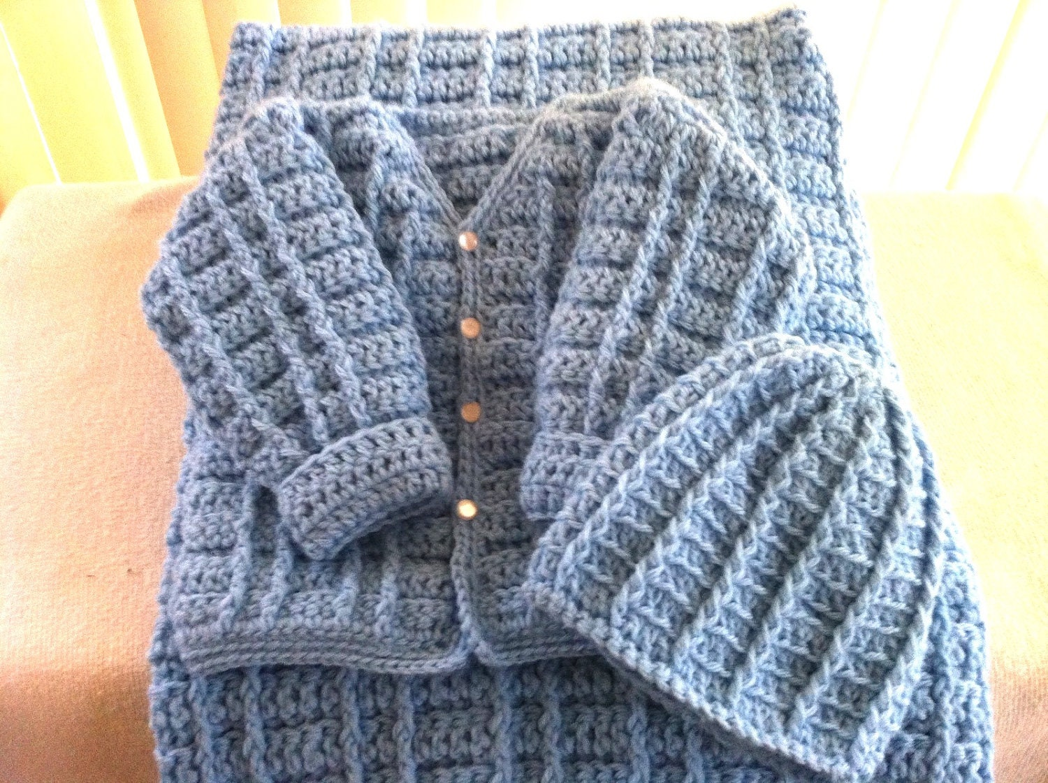 Crochet Baby Boy Sweater Free Patterns : Crochet Baby Boy Sweater Set with Cap and Blanket by ...
