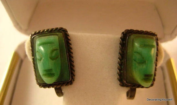 1930s Carved Face Green Onyx Earrings Silver Mexico Screw On Backs