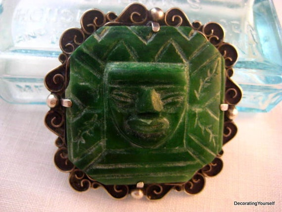 Vintage Taxco Carved Green Jade Brooch 980 circa 1935