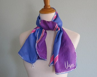 CLEARANCE Vintage 1970s Scarf - Vera Neumann Silk Scarf in Violet, Blue, and Pink - 70s Vera Long Silk Scarf