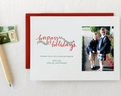 Happy Holidays Garland Custom Letterpress Cards. Set of 50