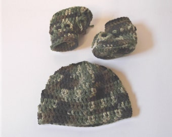 Little Hunter Hat & Boots - camoflauge - baby boy - newborn to 6 mo sizes - made to order