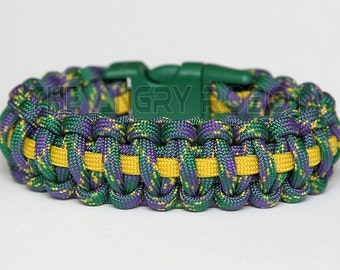 550 Paracord Survival Bracelet Cobra Thin Line - Mardi Gras Yellow Kelly Buckle