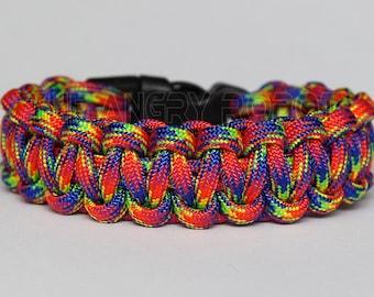 SLIM Paracord Survival Bracelet Cobra - Rockstar - Multi Color